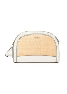 Kate Spade leather straw dome crossbody bag