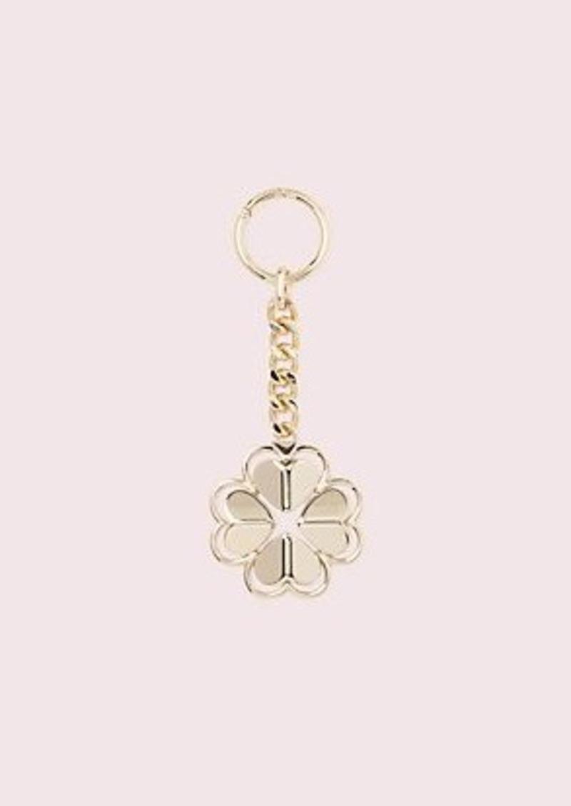 Kate Spade legacy logo metal spade flower keychain