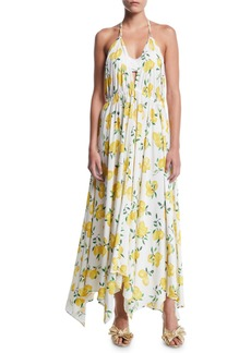 Kate Spade lemon-print halter coverup maxi dress