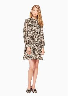 leopard-print clipped dot mini dress