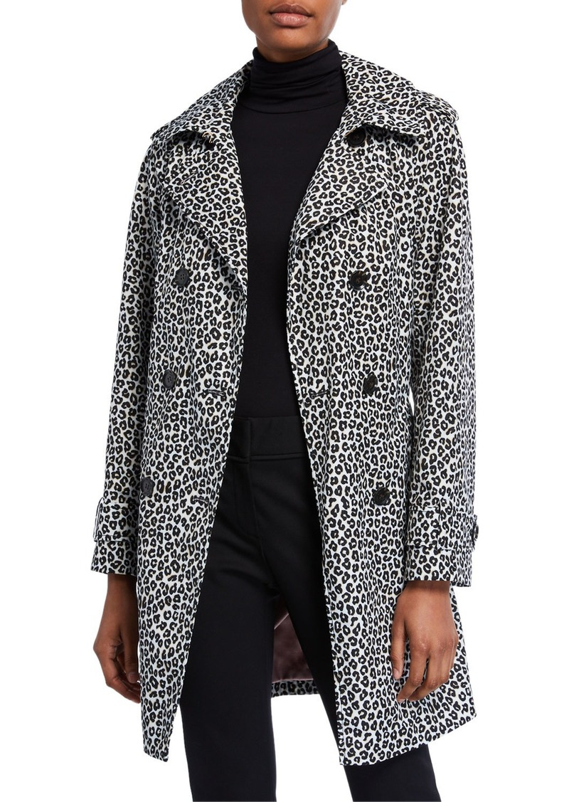 Kate Spade leopard print double-breasted belted trench coat