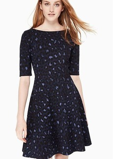 Kate Spade leopard-print lace-up ponte dress