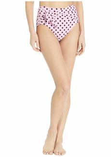 Kate Spade Lia Dot Tie High-Waist Bikini Bottoms