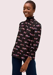 Kate Spade love birds smocked neck blouse