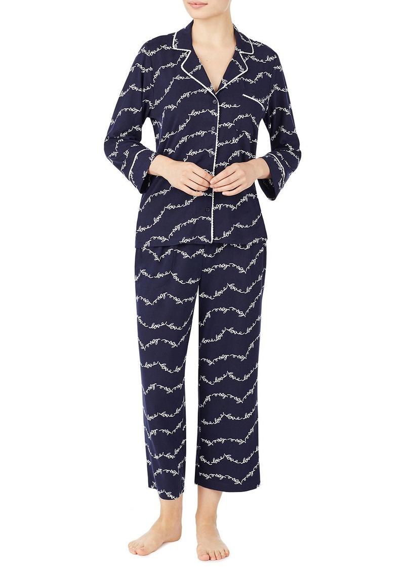 Kate Spade love script crop pajama set