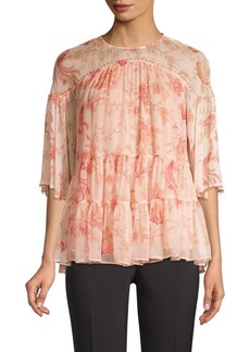 Kate Spade Madison Avenue Nari Chinoiserie Silk Blouse