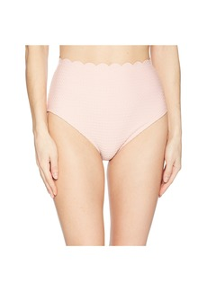 Kate Spade Marina Piccola Textured Scallop High-Waist Bottom