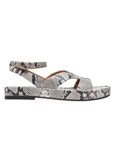 Kate Spade Marshmallow Snakeskin-Embossed Leather Flatform Sandals