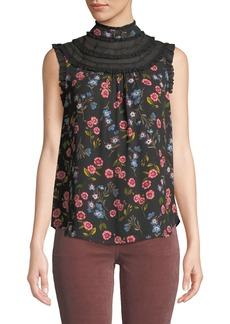 Kate Spade meadow lace-trim sleeveless top
