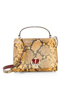 Kate Spade Medium Nicola Twistlock Python-Embossed Leather Top Handle Bag