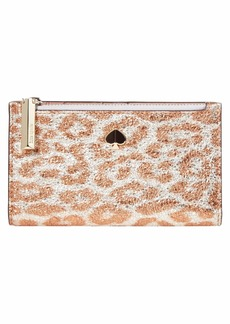 Kate Spade Metallic Leopard Small Slim Bifold Wallet