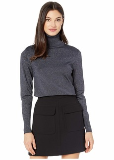 Kate Spade Metallic Ribbed Turtleneck