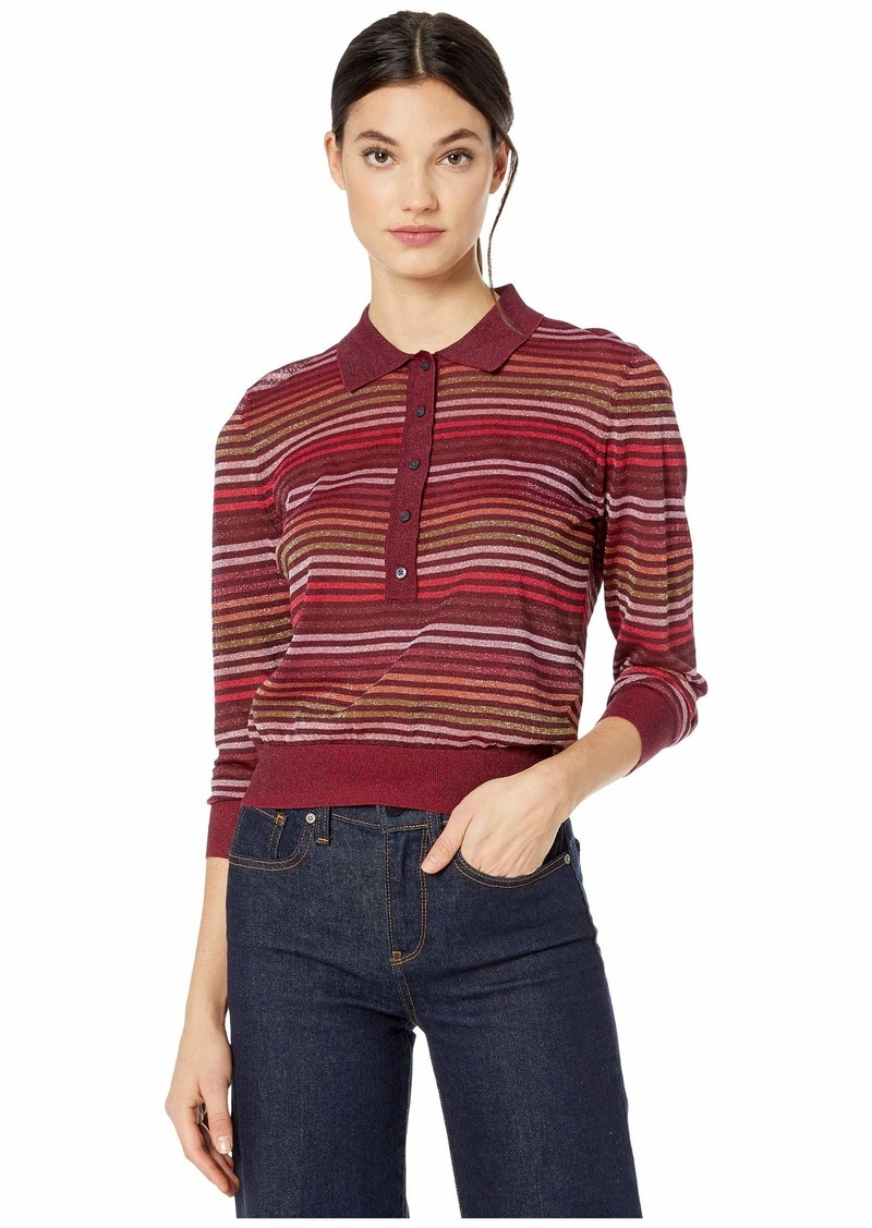 Kate Spade Metallic Stripe Polo Sweater