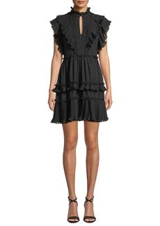 Kate Spade Mock-Neck Cap-Sleeve Devore Bakery Dot Mini Dress w/ Ruffles