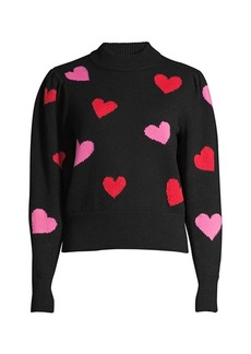 Kate Spade Mock-Neck Hearts Sweater