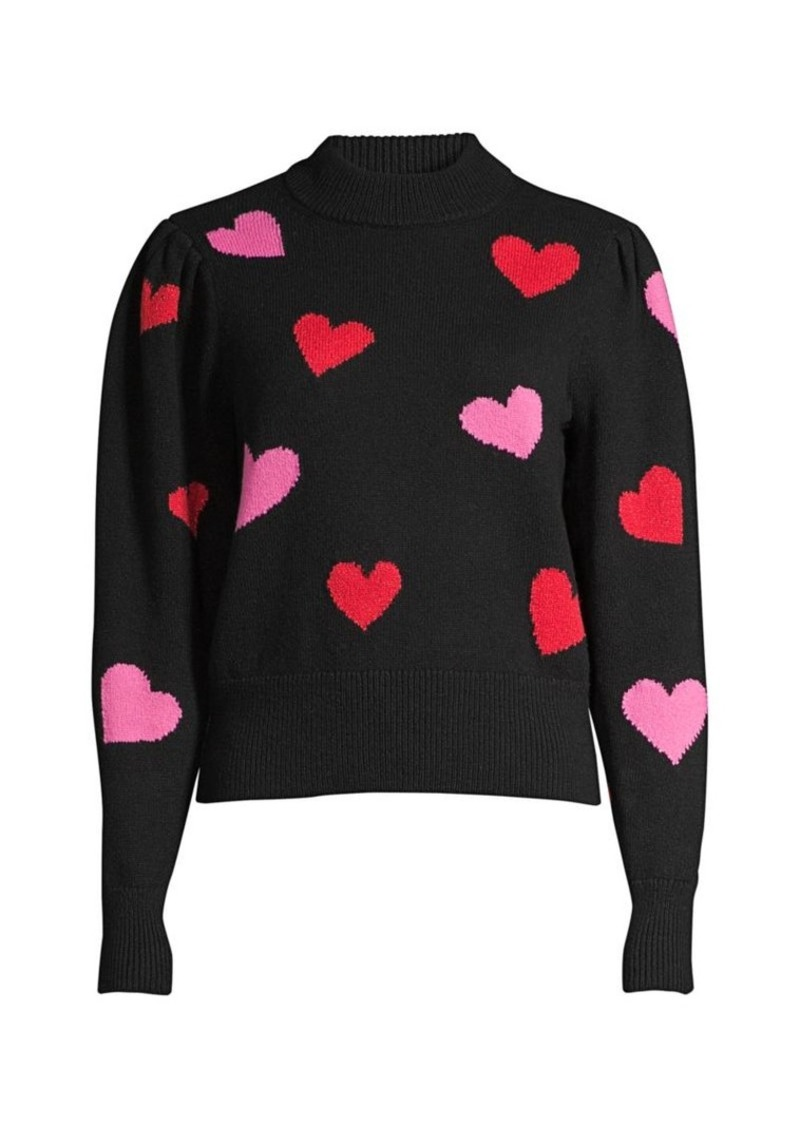 Kate Spade Mock-Neck Hearts Sweater