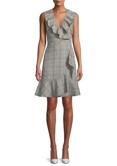 Kate Spade mod plaid a-line dress w/ ruffle trim