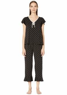 Kate Spade Modal Jersey Doodle Dot Cropped PJ Set