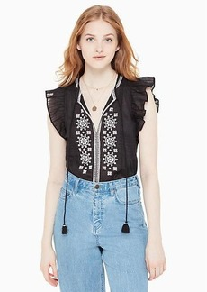 Kate Spade mosaic embroidered tassel top