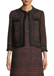 Kate Spade multi tweed fringe jacket