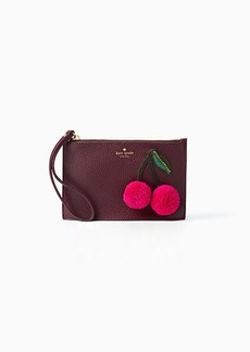Kate Spade on purpose cherry applique mini leather wristlet