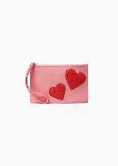 Kate Spade on purpose heart mini leather wristlet
