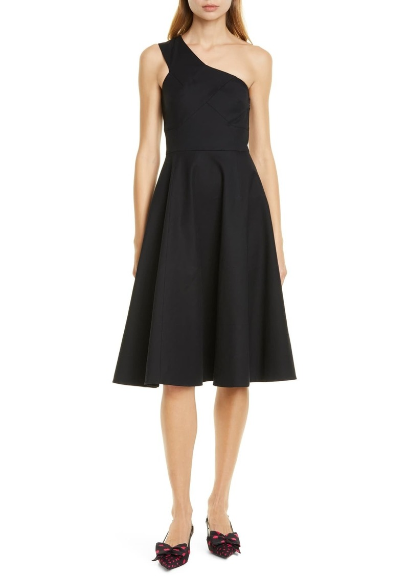 Kate Spade one-shoulder stretch cotton fit & flare dress