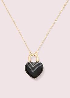 Kate Spade open heart stone lock mini pendant