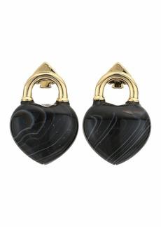 Kate Spade Open Heart Stone Lock Studs Earrings
