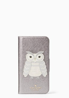 Kate Spade owl applique folio iphone x case