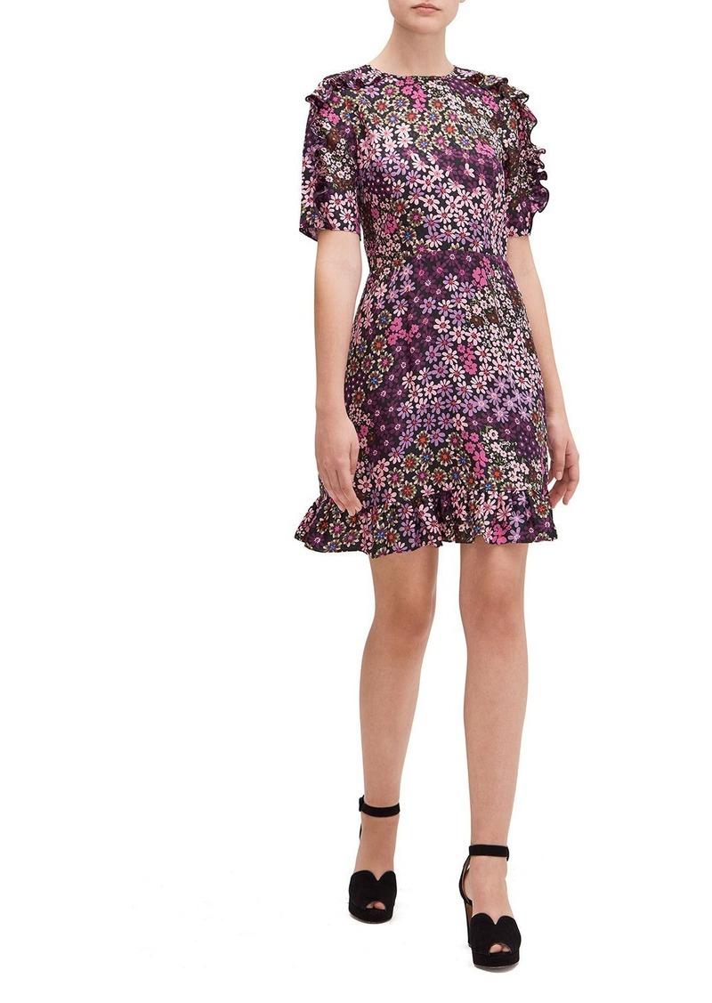 Kate Spade pacific petals smocked ruffle dress