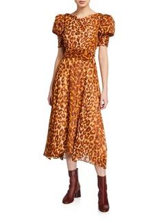 Kate Spade panthera clip dot puff-sleeve dress