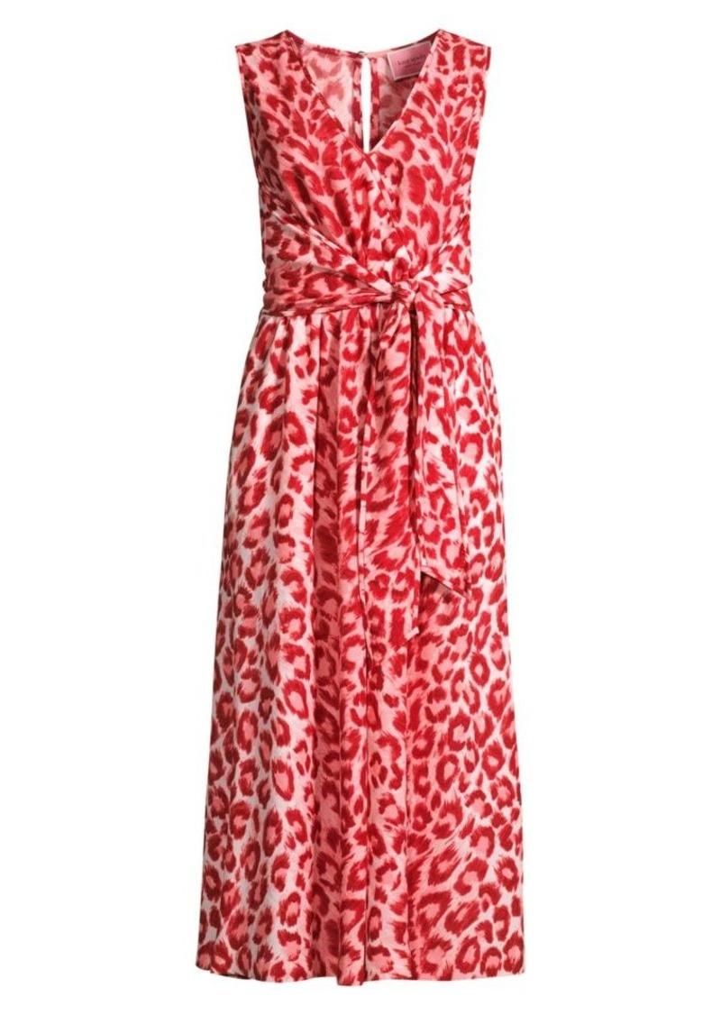 Kate Spade Panthera Tie-Waist Animal-Print Jumpsuit