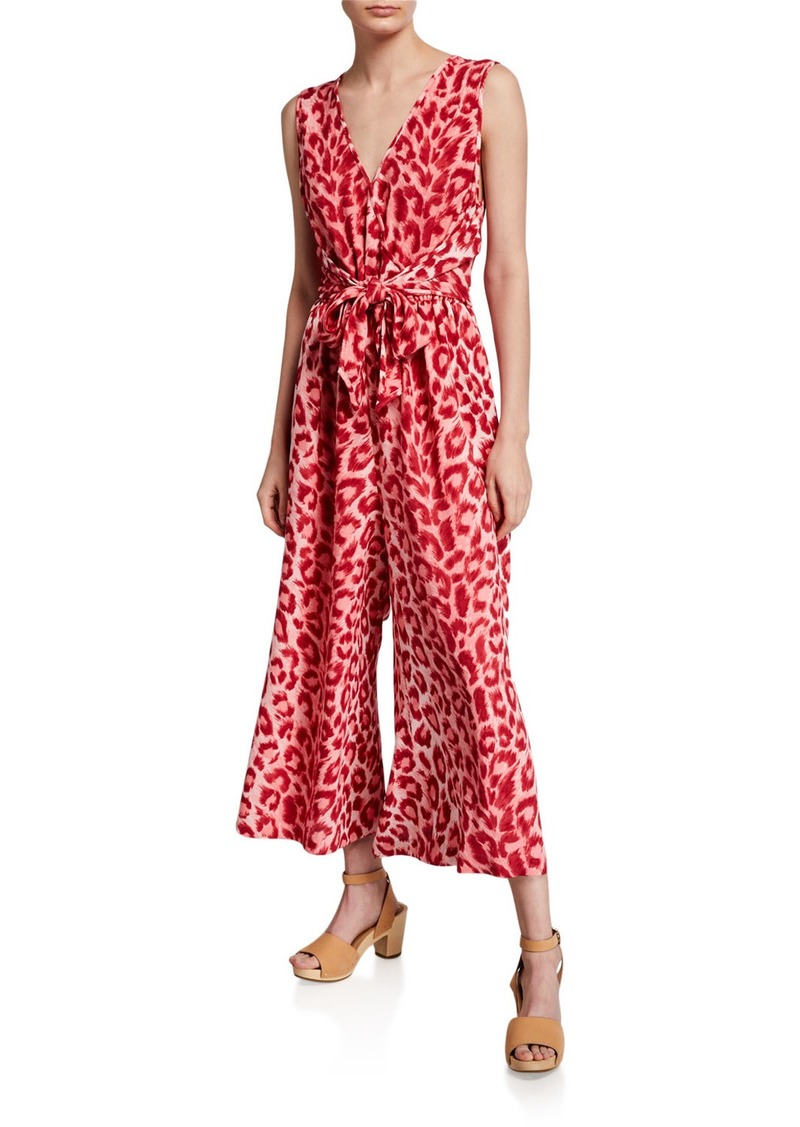 Kate Spade panthera tie-waist sleeveless jumpsuit