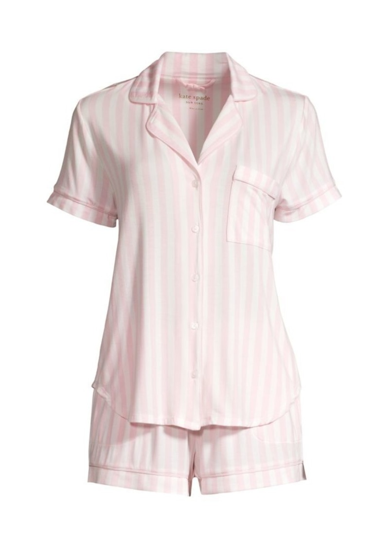 Kate Spade Pastry Striped 2-Piece Short Pajama Set
