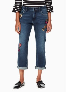patch embellished jean