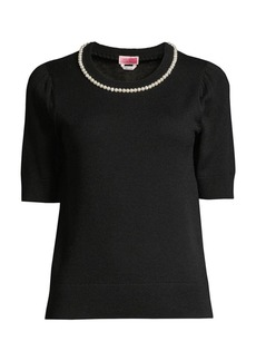 Kate Spade Pearl & Pave Short Sleeve Sweater