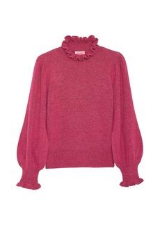 Kate Spade Pearl Button Cuff Ruffle Sweater
