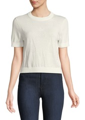 Kate Spade pineapple textured short-sleeve sweater top