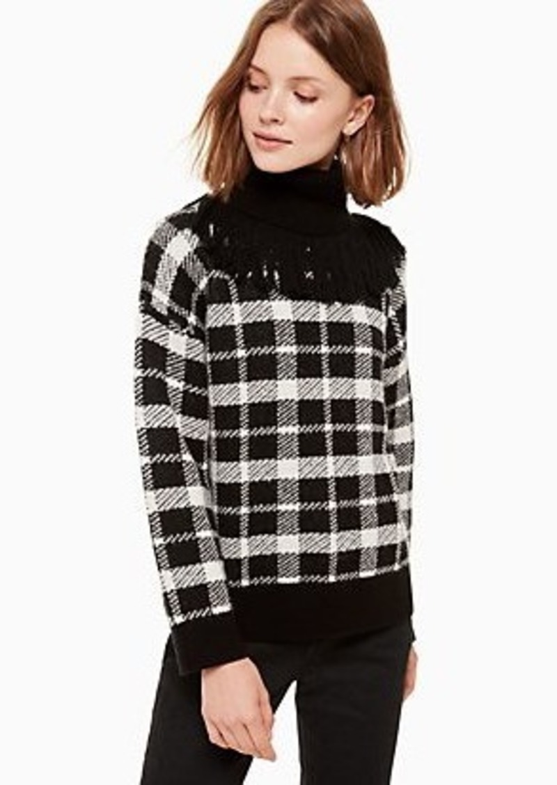 Kate Spade plaid fringe turtleneck