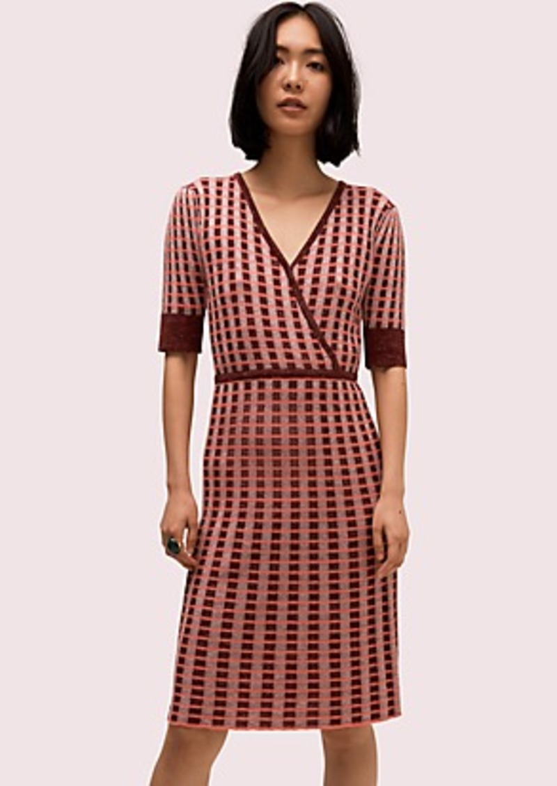 Kate Spade plaid wrap sweater dress