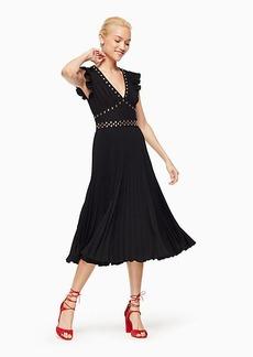 pleated stud crepe dress