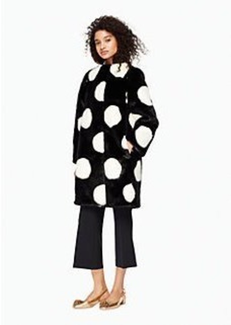 Kate Spade polka dot faux fur coat