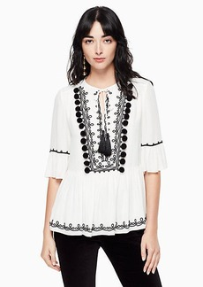 Kate Spade pom embroidered top