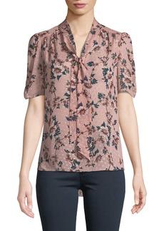 Kate Spade prairie rose-print tie-neck dotted silk top