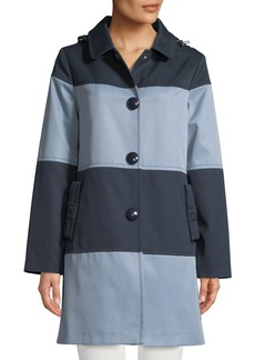 Kate Spade rain mac colorblock jacket w/ hood