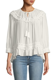 Kate Spade rambling roses lace insert silk blouse