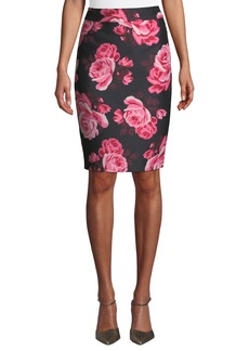 Kate Spade rambling roses rosa printed pencil skirt