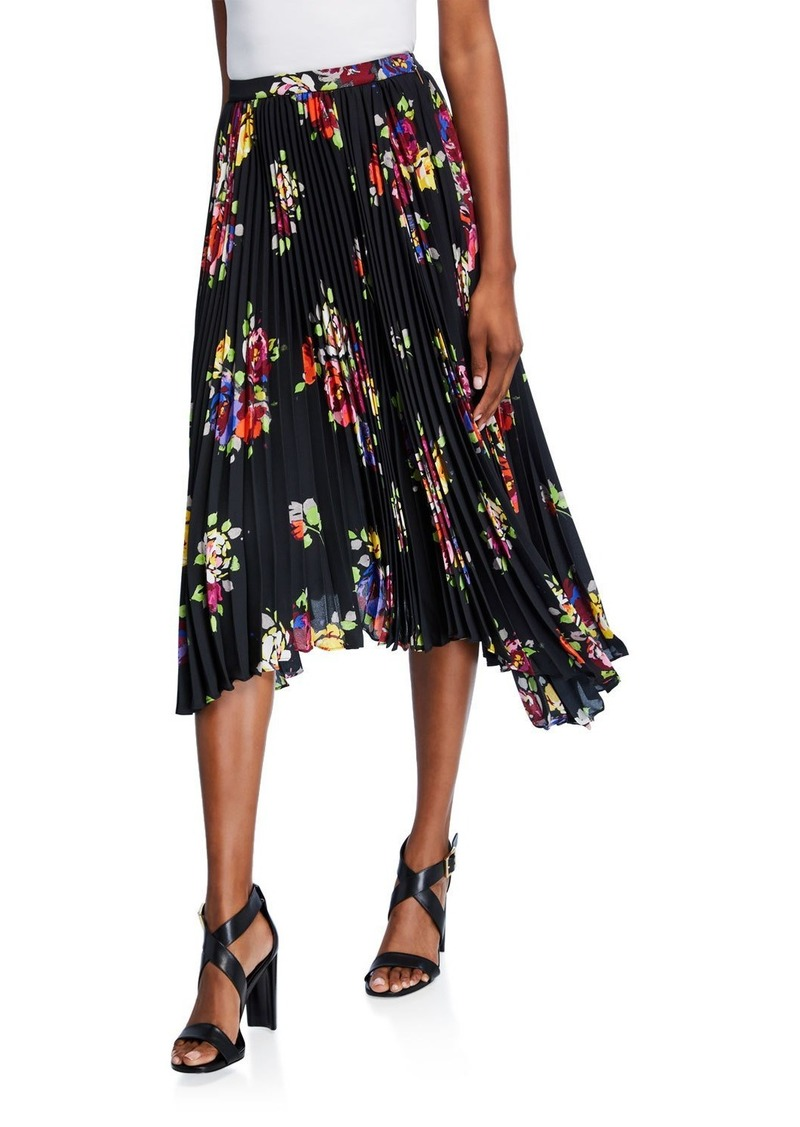 Kate Spade rare roses pleated asymmetric midi skirt