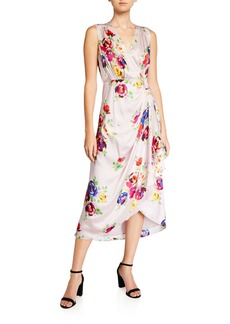 Kate Spade rare roses sleeveless silk midi wrap dress